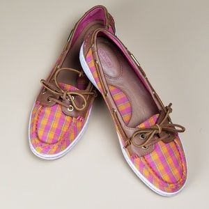 Coach Richelle Pink and Orange Plaid Boat Shoes